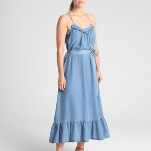 Gap Ruffle Maxi Peasant Chambray Tencel Dress